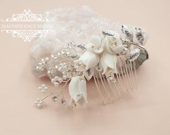Bridal hair piece, Small bridal headpiece, small hair comb, wedding comb, bridal hair comb, small hair accessory, bridesmaids comb, ASHLEY