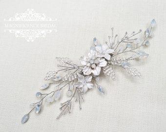 White opal clip, Bridal headpiece, Opal hair clip, wedding headpiece, opal headpiece, bridal hair clip, bridal hair comb, white opal ISADORA