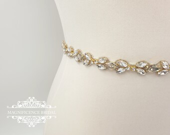 Thin gold belt, Thin bridal belt, bridal belt, thin bridal sash, thin wedding belt, gold bridal belt, thin rhinestone belt, gold belt, NORA