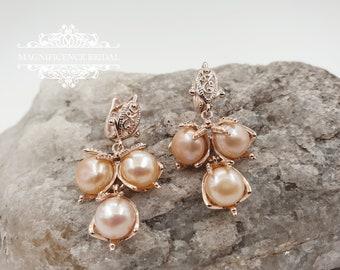 Bridal earrings, blush pearl earrings, rose gold bridal, wedding earrings, dangle earrings, rose gold earrings, pearl drop earrings, MELANIE