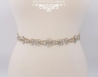 Thin Gold belt, Gold bridal belt, Thin bridal belt, bridal belt, gold rhinestone belt, thin wedding belt, gold bridal sash, all around TARA