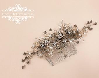 Gold wedding comb, Vintage hair comb, Vintage gold bridal, Gold bridal comb, gold hair comb, bridal hair comb, gold headpiece, CYNTHIA