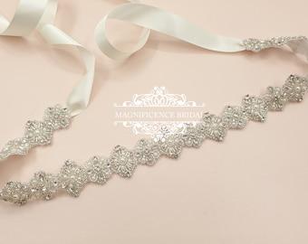 Thin wedding belt, pearl wedding belt, bridal belt, beaded belt, thin bridal belt, bridal sash, wedding belts and sashes, wedding sash, MARY