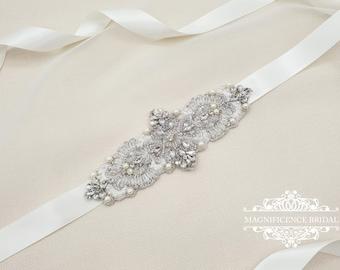 Art deco bridal sash, bridal applique, bridal belt, Bridal sash, bridal waist belt, hand beaded belt, luxury bridal sash, pearl belt, FAYME