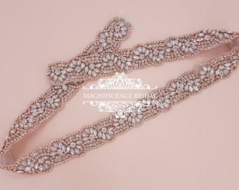 Rose gold belt, rose gold sash, diamante belt, wedding belt, gold bridal belt, rhinestone belt, rose gold, crystal belt, sash belt, PATRICIA