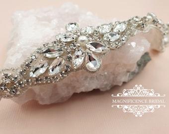 Thin bridal belt, thin wedding belt, pearl wedding belt, bridal belt, beaded belt, bridal sash, wedding belts and sashes, skinny belt LESLIE