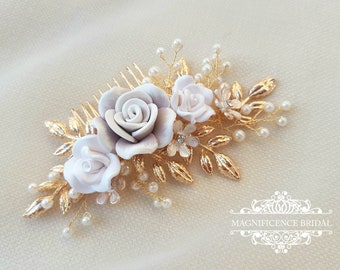 Gold Headpiece, gold bridal comb, Bridal hair comb, Bridal headpiece, wedding headpiece, bridal comb, floral bridal comb, gold, FLORENCE