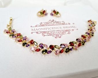 Multi colour jewelry, cz bridal set, rainbow jewelry, multi colour set, zircon necklace, bridal jewelry, zirconia, jewelry set, LULIE
