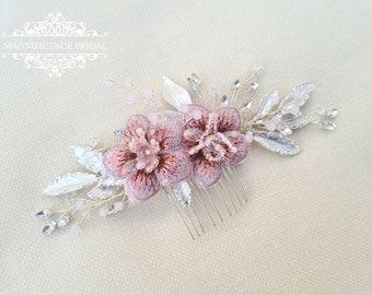 Bridal comb, flower comb, Bridal headpiece, blush headpiece, wedding headpiece, pink comb, blush wedding, bridal hair comb, ABIGAIL
