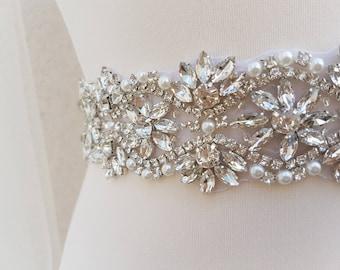 Bridal belt, wide bridal sash, wedding belt, rhinestone belt, bridal sash, wide bridal belt, diamante belt, sash belt, sparkly belt VICKI
