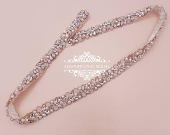 Rose gold bridal belt, pearl bridal belt, Bridal belt, rose gold sash, rose gold belt, thin pearl sash, crystal belt, bridal belts, JOLIE