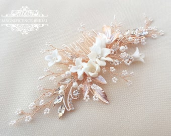 Bridal headpiece, rose gold headpiece, rose gold hair comb, rose gold hair piece, Wedding headpiece, Bridal hair comb, bridal comb YAYA