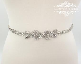 Bridal belt, bridal sash, thin bridal belt, vintage bridal belt, wedding belt, thin rhinestone belt, crystal belt, wedding belt, AVEN