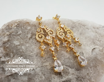 Wedding earrings, Bridal earrings, chandelier earrings, cz silver earrings, Art deco earring, bridal chandelier earrings, cz earrings, HOPE