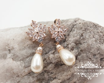 Pearl bridal earrings, pearl earrings, bridal earrings, rose gold earrings, cz pearl earrings, rose gold pearl, wedding earrings, NATALIE