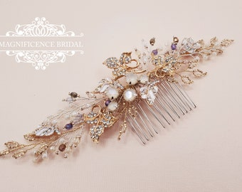 Wedding headpiece, Bridal comb, gold leaf comb, silver gold comb, bridal hair comb, Bridal headpiece, wedding comb, Wedding hair comb, CARIE