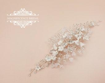Bridal headpiece, Opal hairpiece, wedding headpiece, opal headpiece, bridal hair comb, bridal hair comb, white opal comb, Wedding, ALESIA