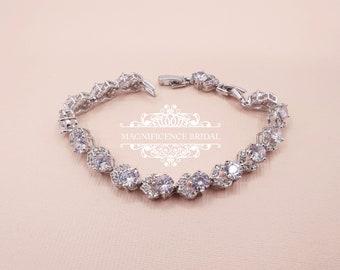 Zircon bracelet, bridal jewelry, zirconia bracelet, cz bracelet, cubic zirconia, bridal bracelet, cz bracelet, bridesmaid gift, CLAUDIA