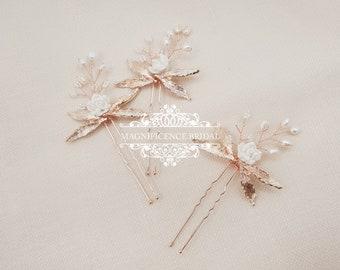 Bridal hair pins, wedding hair pins, rose gold pin, Bridal headpiece, bridal hairpiece, rose gold, hair pins, Crystal headpins, ABIGAIL