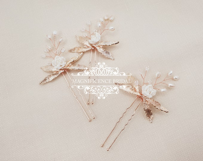 Featured listing image: Bridal hair pins, wedding hair pins, rose gold pin, Bridal headpiece, bridal hairpiece, rose gold, hair pins, Crystal headpins, ABIGAIL