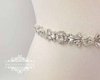 Pearl bridal belt, pearl belt, Bridal belt, thin bridal belt, thin pearl sash, bridal sash, sash belt, wedding belt, rhinestone sash, LOUISA