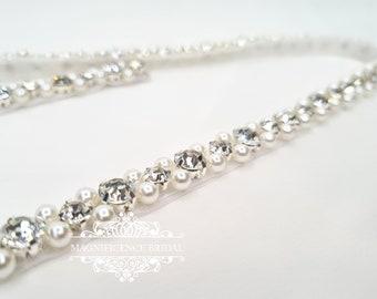 Pearl wedding belt, bridal belt, beaded belt, thin bridal belt, thin wedding belt, bridal sash, wedding belts, bridal belt pearl, ANITA