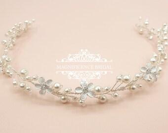 Pearl hair vine, Bridal hair vine, wedding headpiece, bridal hair piece, wedding hair vine, bridal headpiece, pearl halo, ivory vine, KENZIE