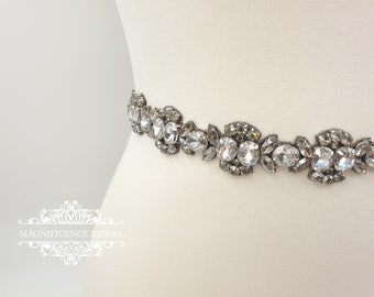 Black Bridal belt, black beaded belt, black diamond, black crystal bridal, black belt, bridal sash, dark rhinestone belt, ASTRID