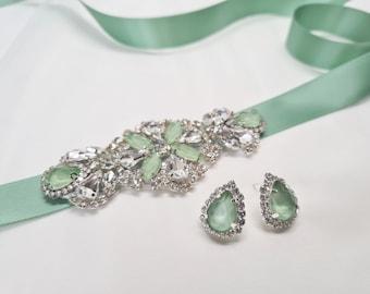Bridesmaid set, gift set, Earrings set, Navy sash, Burgundy belt, violet sash, green wedding, Bridal applique, Small bridal belt, ELIJA