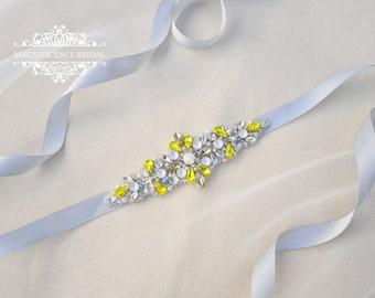 Yellow bridal belt, yellow and grey, Citrine yellow belt, yellow wedding, Art deco bridal, bridal applique, bridal belt, yellow sash, POLLY