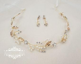 Wedding set, pearl earrings, wedding hair, wedding headpiece, boho wedding, bridal headpiece, bridal hair vine, Bohemian headpiece, LUNA