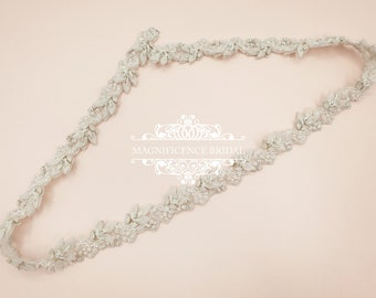Thin bridal belt, bridal belt, light bridal belt, thin wedding belt, skinny bridal sash, thin rhinestone belt, all around belt, SUSAN
