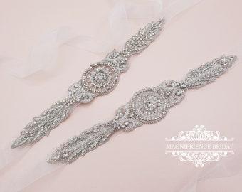 Art deco bridal sash, bridal applique, bridal belt, Bridal sash, bridal waist belt, hand beaded belt, luxury bridal sash, pearl belt, HARLEY