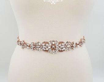 Rose gold belt, Bridal belt, pearl bridal belt, rhinestone bet,  rose gold bridal belt, wedding belt, bridal sash, beaded belt, JENNY