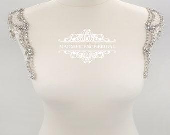 Crystal straps, wedding dress, bridal straps, Beaded shoulders, beaded straps, bridal accessories, Epaulettes, Wedding dress straps FREDA
