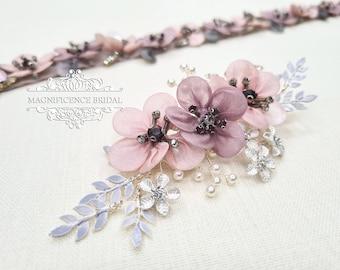Mauve hair clip, flower hair clip, Bridal headpiece, blush headpiece, wedding headpiece, pink comb, blush wedding, bridal hair comb, MAE