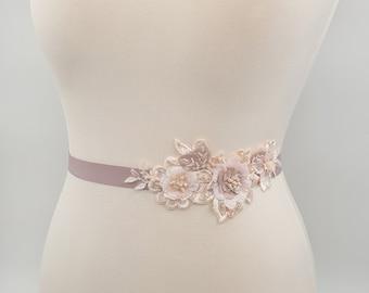 Blush sash, lace sash belt, laser cut flowers, blush rose belt, blush bridal belt, blush lace belt, blush wedding, mellow rose belt, DAGNE