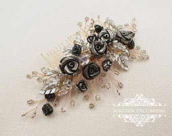 Black bridal headpiece, Pyrite comb, Gold headpiece, Gold bridal comb, Bridal headpiece, Pyrite headpiece, black roses comb,  MELODY