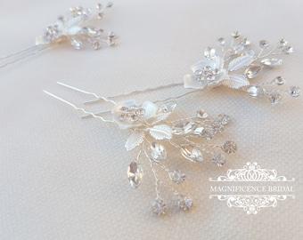 Bridal hair pins, wedding hair pins, rose gold headpiece, Bridal headpiece, bridal hairpiece, Crystal headpins, rose gold wedding FAYE