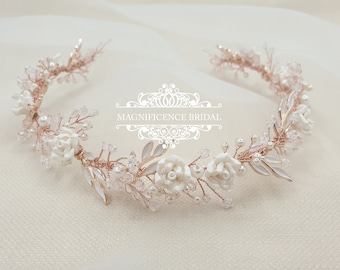 Bridal hair vine, rose gold vine, wedding headpiece, bridal hair piece, crystal hair vine, bridal headpiece, hair jewelry, rose tiara, MARIE