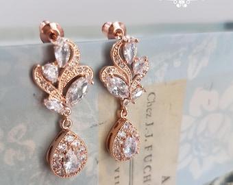Bridal earrings, rose gold bridal earrings, wedding earrings, swirly earrings, dangle earrings, zirkonia earrings, rose gold earrings, SARA