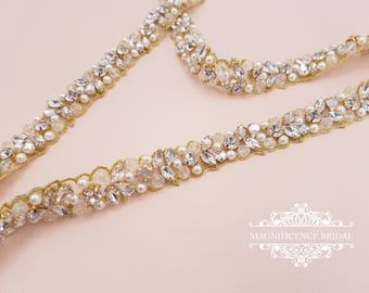 Gold bridal belt, pearl belt, Bridal belt, thin pearl sash, crystal belt, thin bridal belt, gold wedding belt, gold pearl belt,  JOLIE