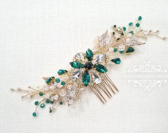 Gold hair comb, emerald and gold, Bridal hair comb, wedding hair comb, emerald headpiece, green wedding, wedding comb, gold and green, MARA