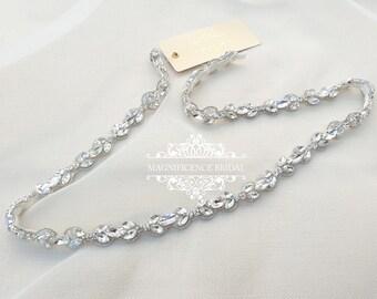 Thin rhinestone belt, Thin bridal belt, bridal belt, thin bridal sash, thin wedding belt, skinny bridal sash, skinny belt, thin trim NORA