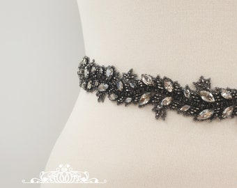 Black Bridal belt, black beaded belt, black diamond, black crystal bridal, black belt, bridal sash, dark rhinestone belt, ELVIRA