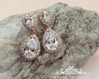 Dangle earrings, cubic zirconia earrings, crystal earrings, wedding earrings, bridal earrings, teardrop earrings, crystal drop earrings ANNA