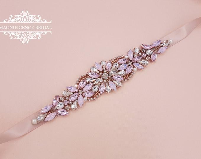 Featured listing image: Rose gold bridal belt, Rose gold sash, bridal belt, pink sash, rose gold belt, pink bridal belt, wedding belt, pink opal belt, JEAN