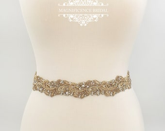 Pale gold belt, gold bridal belt, wedding dress belt, gold wedding belt, light gold, Champagne belt, bridal belt, champagne wedding, LOREN