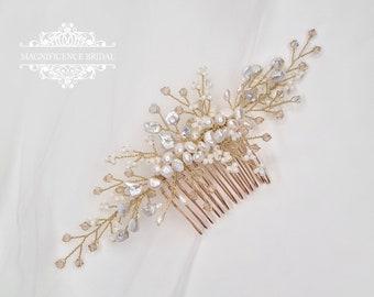 Gold Headpiece, Gold pearl comb, gold bridal comb, Bridal hair comb, Bridal headpiece, wedding headpiece, bridal comb, gold comb, CANDICE