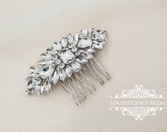 Bridal headpiece, bridal hair comb, Wedding hair comb, bridal comb, vintage hair comb, rhinestone hair comb, crystal hair comb, LEANNE
